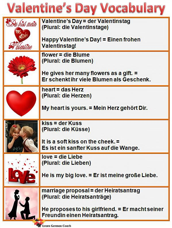 10 Fun Facts about Valentine\'s Day | German words, German and German ...