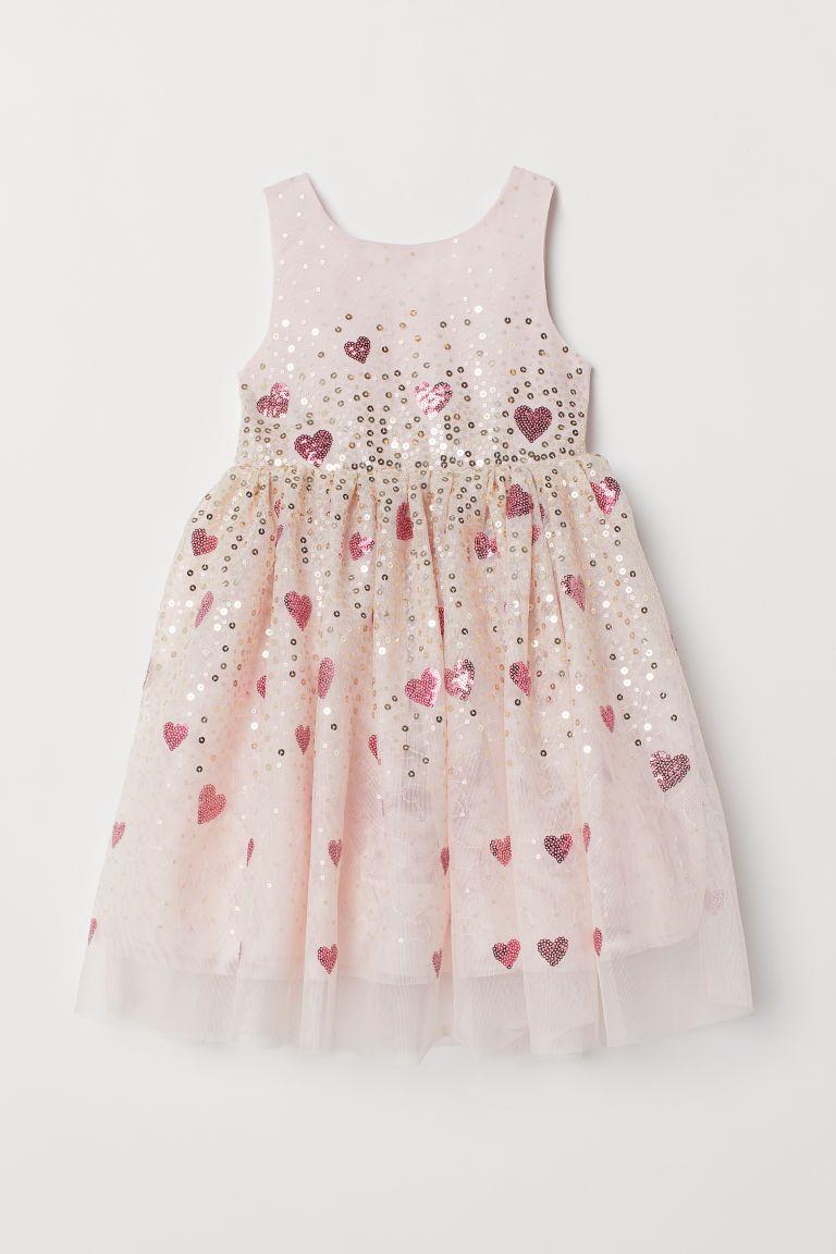 536d598dd23a2d Tulen jurk met pailletten - Poederroze - KINDEREN