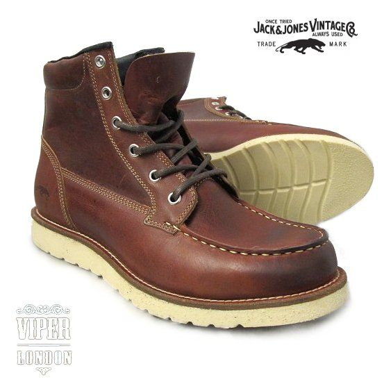 2b93f4ad077d0d Jack & Jones Vintage Leather Logger Work Boots Mens Lace Up Boots, Red Wing  Boots
