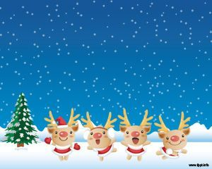 Christmas Dance PowerPoint Template   A Powerpoint Background With Blue  Sky, Snow, A Christmas Tree, And Dancing Cute Deers. As Greeting Cards Or  Wallpapers ...
