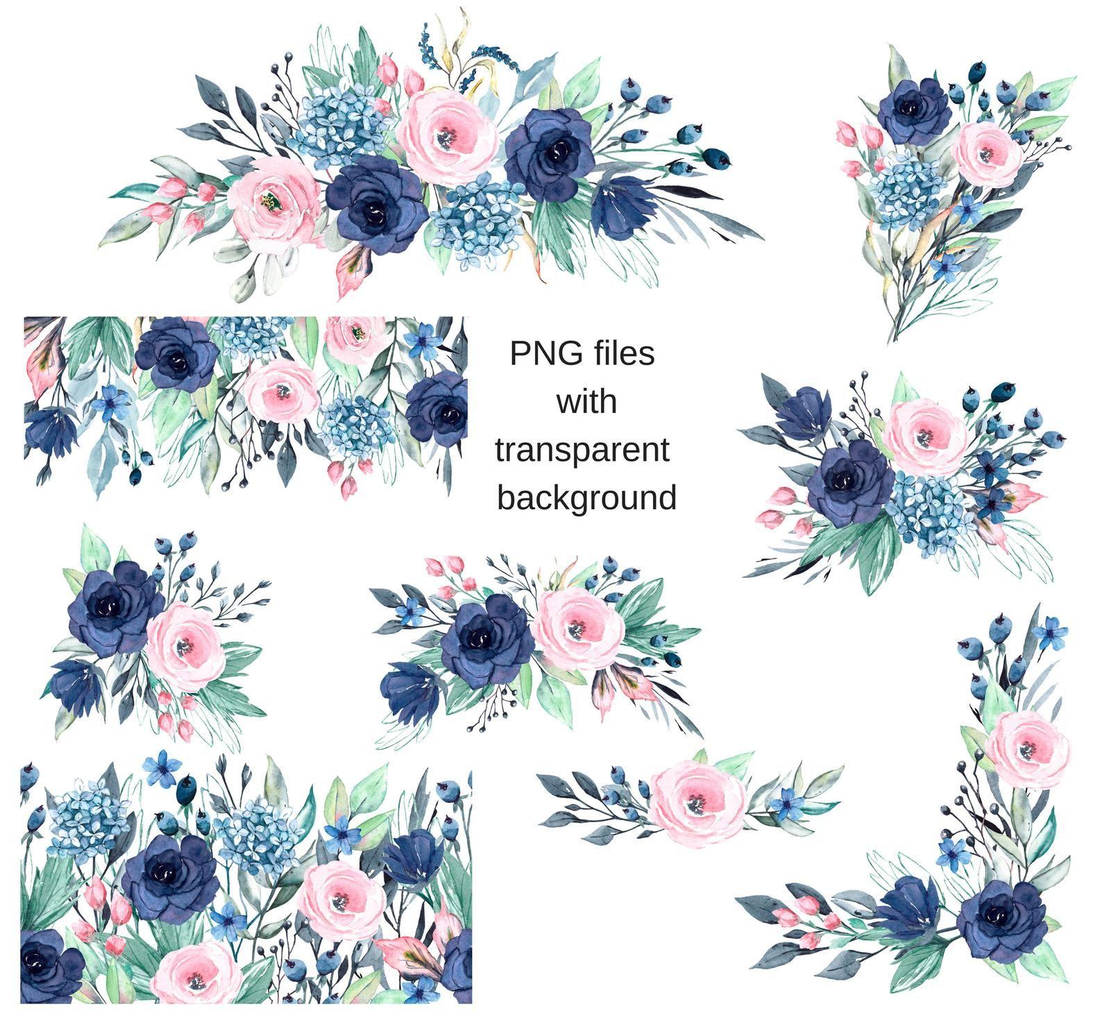 Watercolor Flowers Clipart Floral Blue Indigo Pink Set 9 Etsy Watercolor Flowers Clip Art Floral Border Design