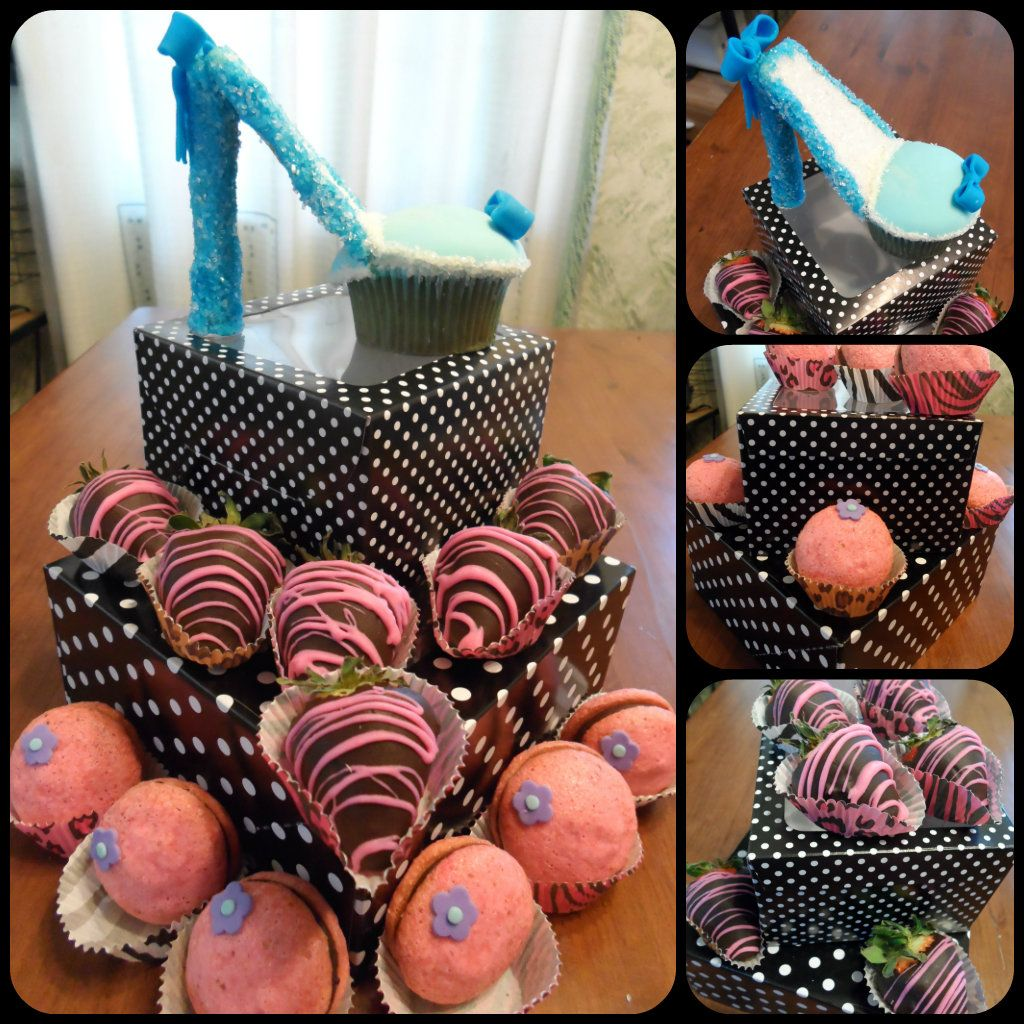 cupcake stiletto, choc dipped strawberries, and macaroons...what a lovely gift this can make