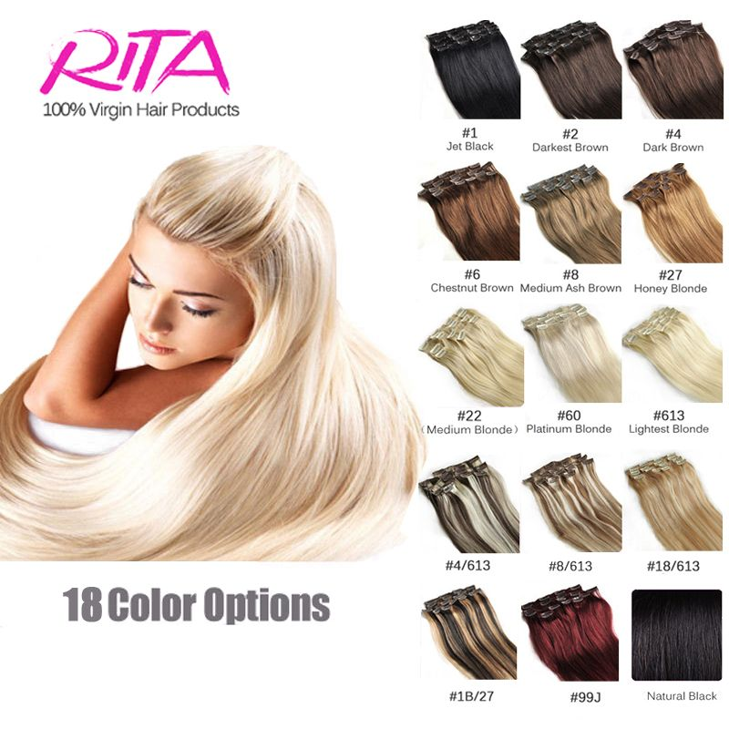 16 Color Available Brazilian Hair Clip In Human Hair Extensions 7pcs