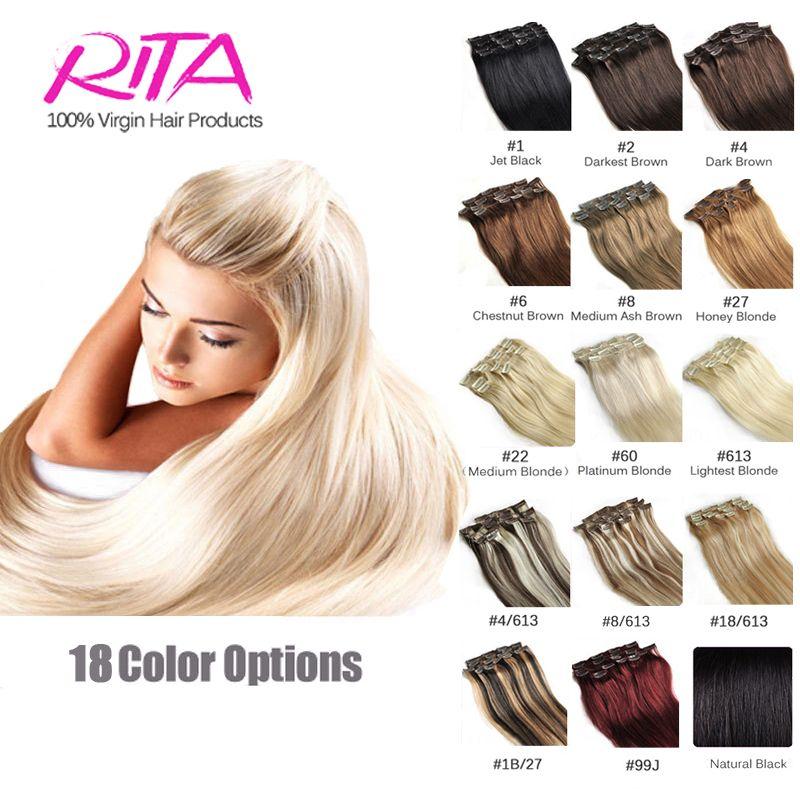 16 color available brazilian hair clip in human hair extensions 16 color available brazilian hair clip in human hair extensions 7pcs full head set rita hair pmusecretfo Choice Image
