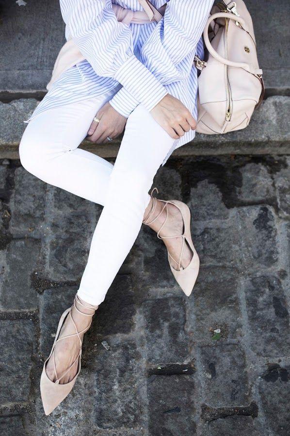 0cb1b1fae6d7 striped shirt stripes light blue point flats lace up pale pink white skinny  jeans    Atlantic-Pacific     tgif