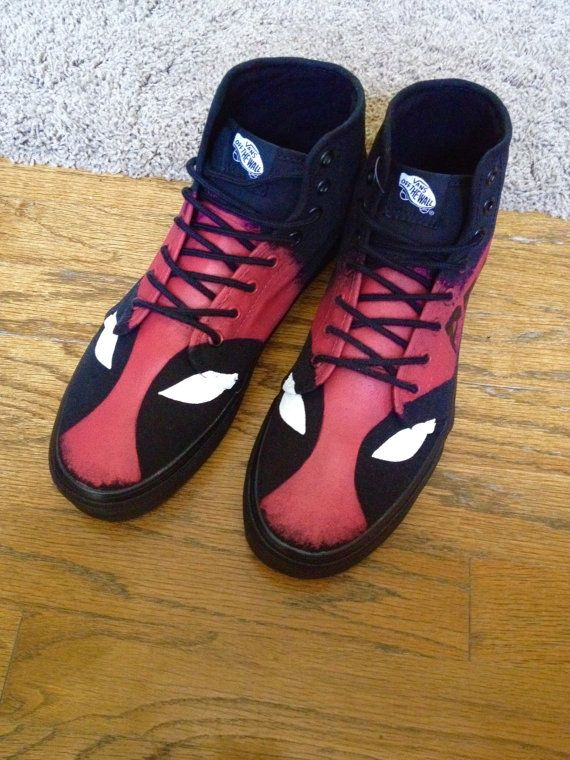 6601089e120 Custom Deadpool Hightop Vans Adult Shoes by ArtScribbles on Etsy