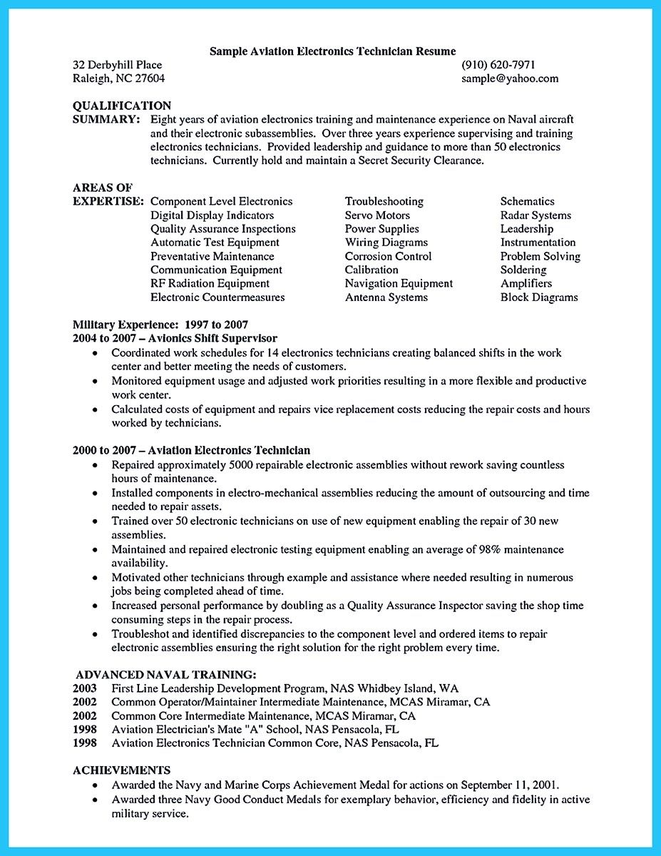 Avionics Technician Resume Engineering Technician Resume Cover