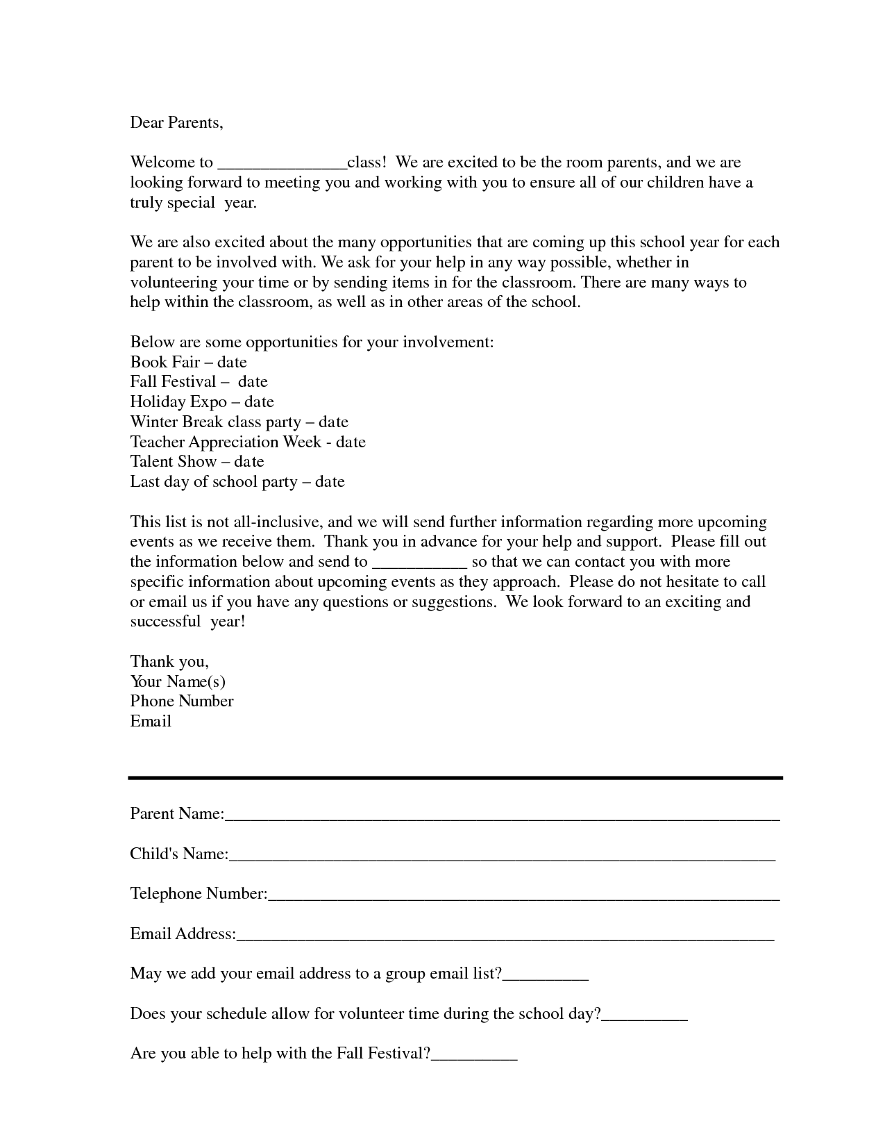 Sample Room Mom Intro Letter