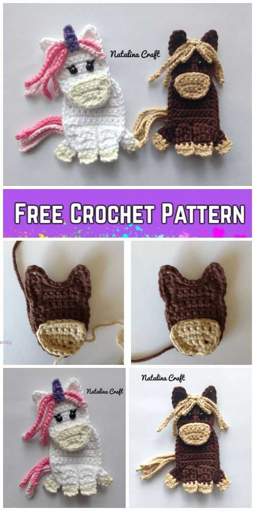 Unicorn Applique Crochet Patterns Free & Paid | Dolls | Pinterest ...