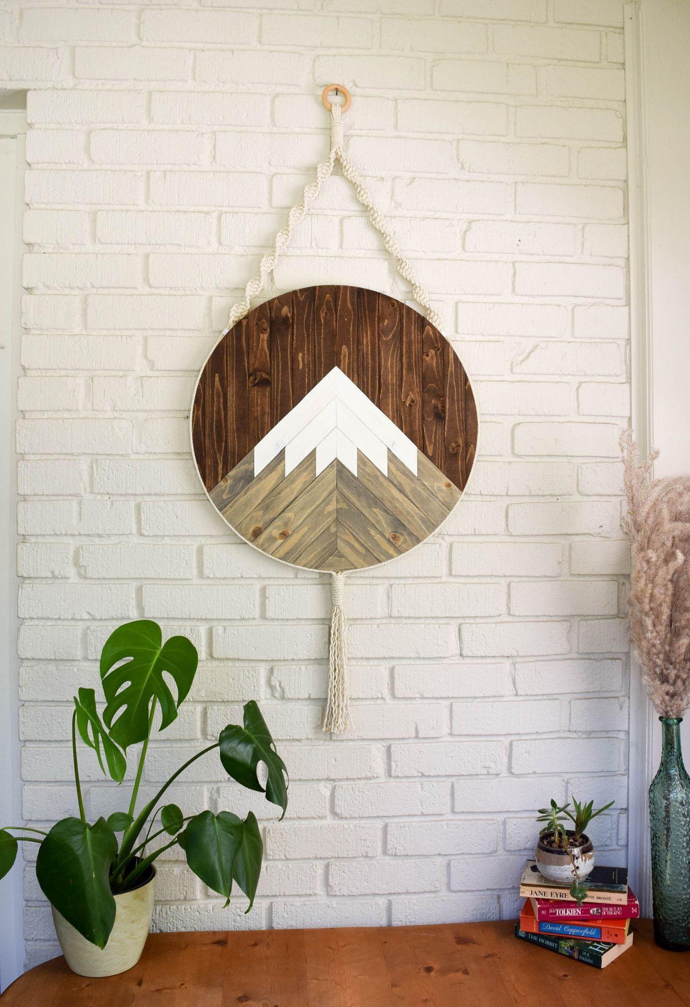 Mt shasta round macrame wood wall art hanging metal trees
