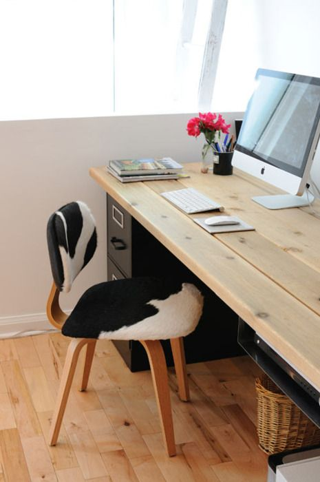 Raw Wood Desk Top Supported By Black Filing Cabinets Diy Desk