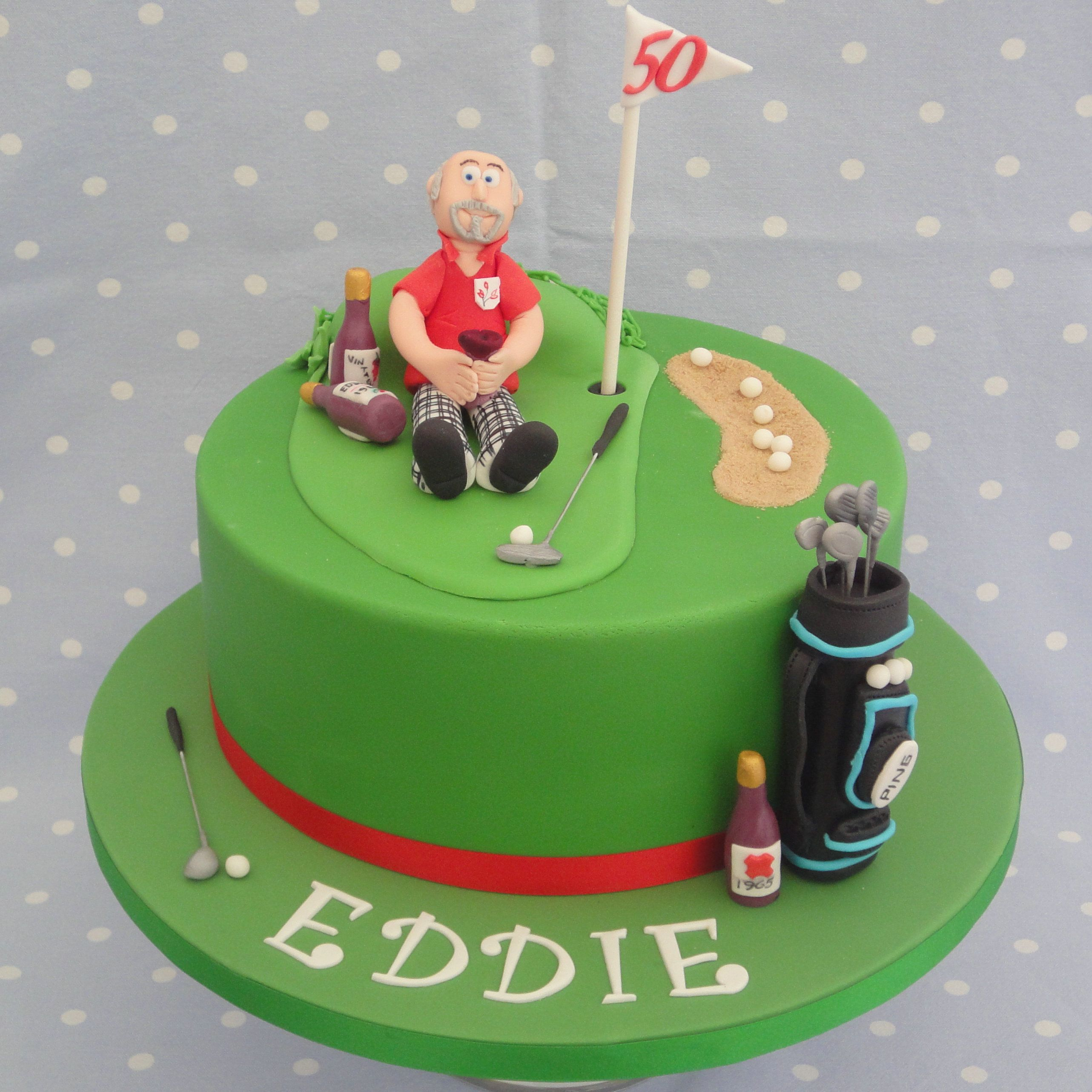 Golf themed birthday cake with handmade sugar decorations Golf