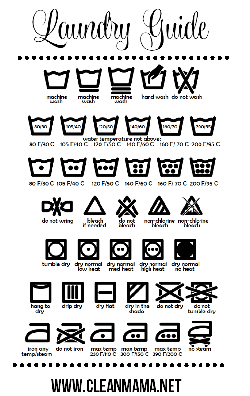 The following wash care symbols cover how your garment should be cleaned: Once you've washed your clothes, it's just as important to dry them properly. The following wash care symbols explain whether it is safe to use a tumble dryer after washing your garment, and if so, which setting is appropriate.