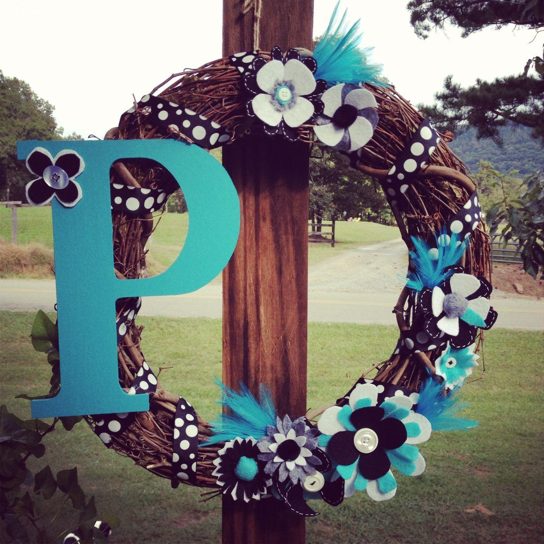A wreath I made for the front door! Wreaths, Crafts, Doors