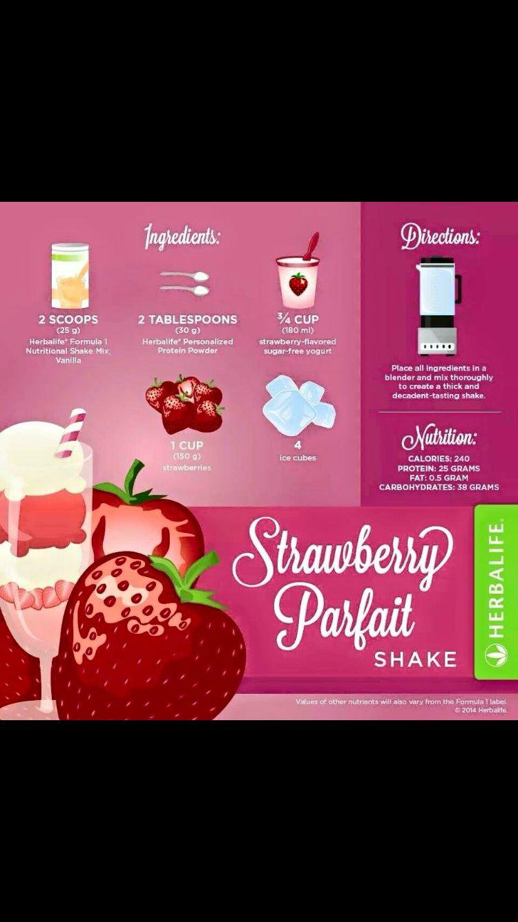 Strawberry parfait Herbalife shake recipe http://www.goherbalife.com/paulineassisteert/nl-NL