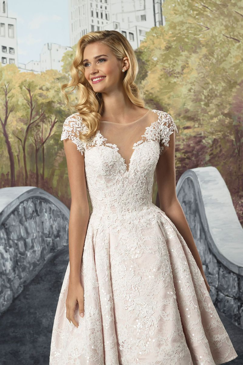Justin Alexander Style 8910 Beaded Venice Lace High Low Tea Length Gown Wedding Dresses Short Wedding Dress Ball Gown Wedding Dress [ 1200 x 800 Pixel ]