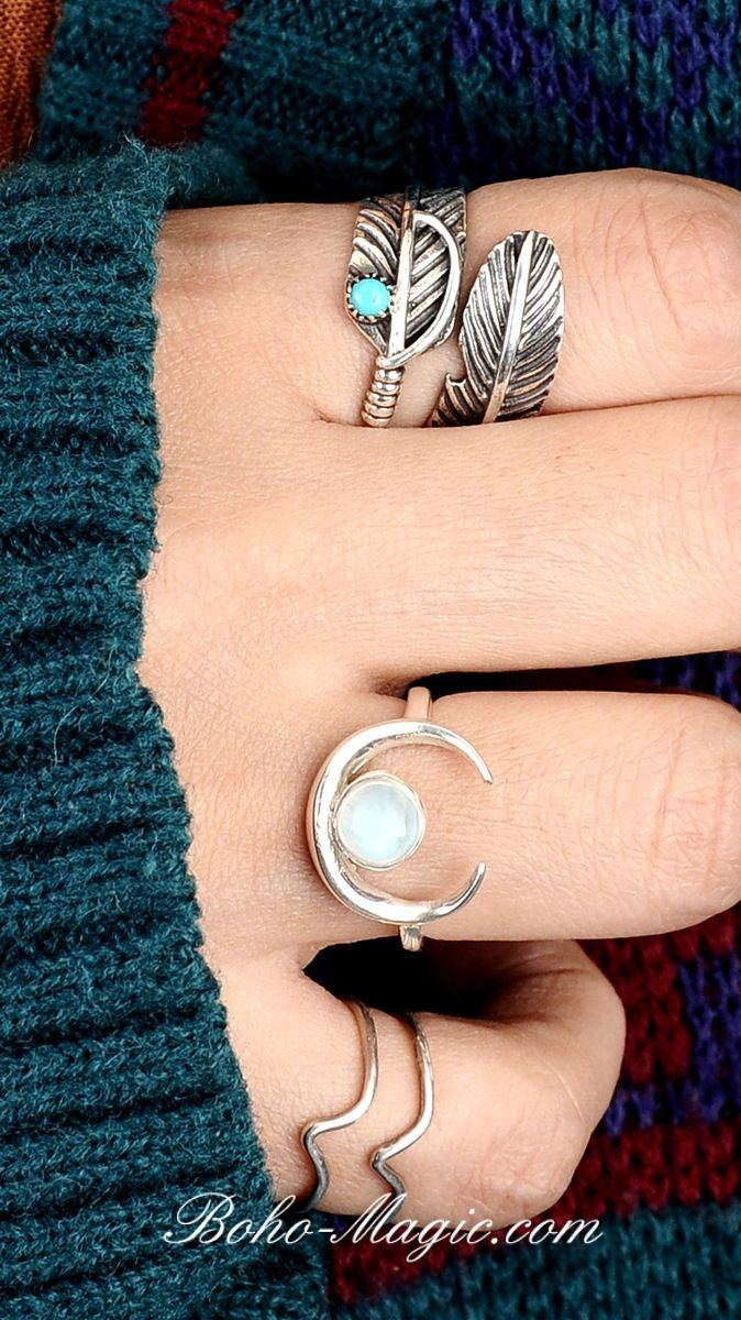 Sterling Silver Triangle Gemstone Size M Turquoise /& Moonstone Boho Ring