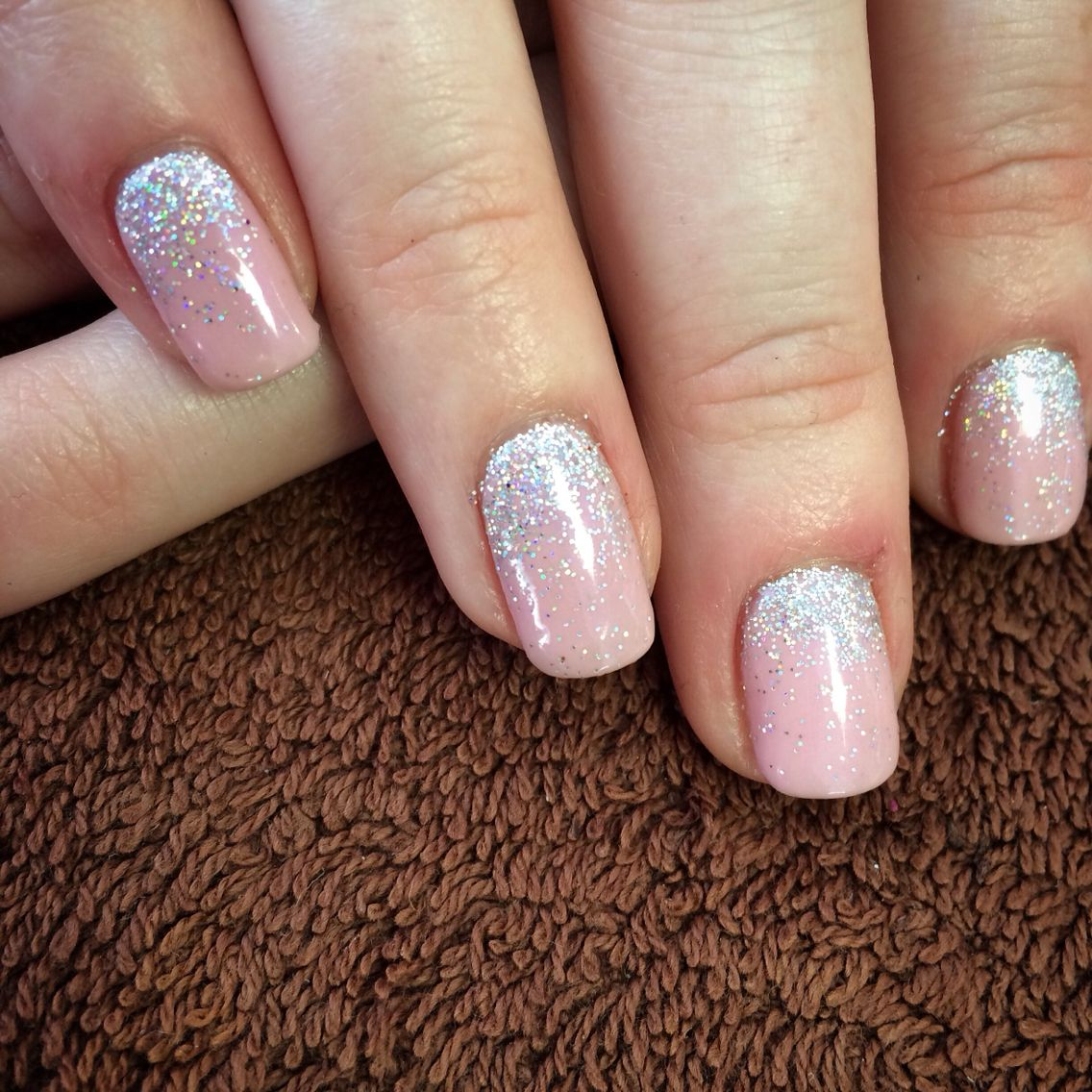 Tried Out Our Newest Colour Blush Teddy Shellac With Silver Faded Holographic Glitter In Love Blush Nails Silver Glitter Nails Pink Wedding Nails