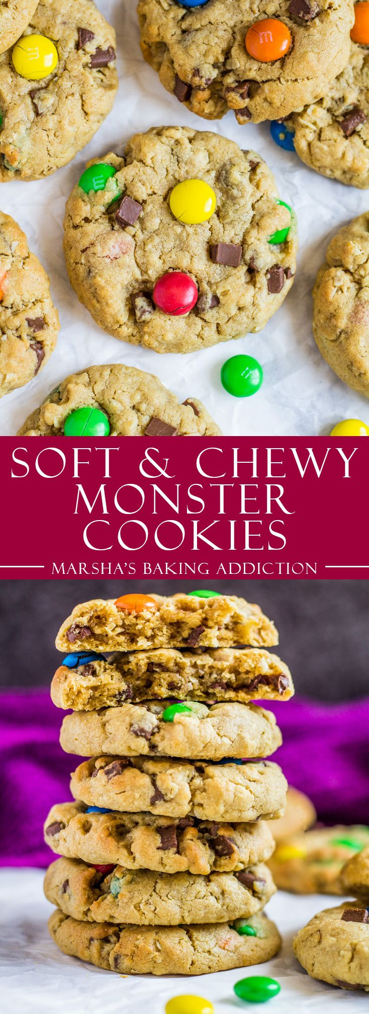 Soft and Chewy Monster Cookies   marshasbakingaddiction.com @marshasbakeblog