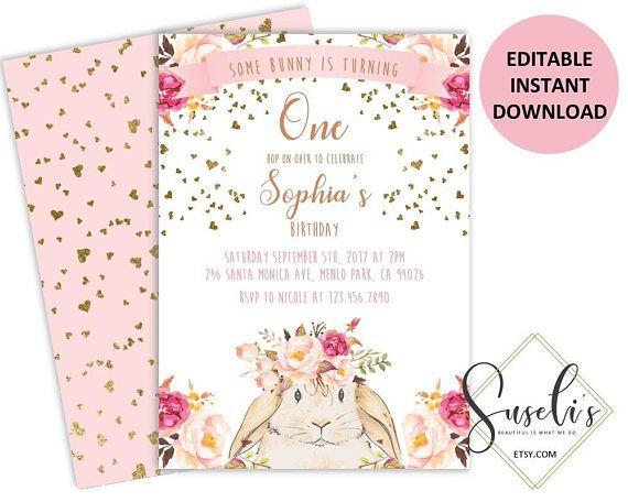 some bunny birthday invite editable invitations template