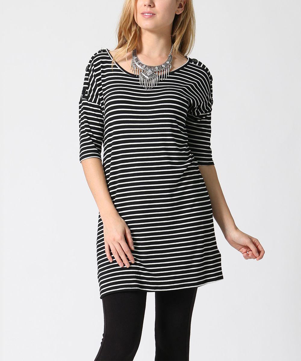 Black & White Mini-Stripe Button-Shoulder Tunic