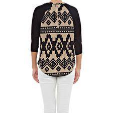 Raglan Aztec Sweater in color Black/Taupe.