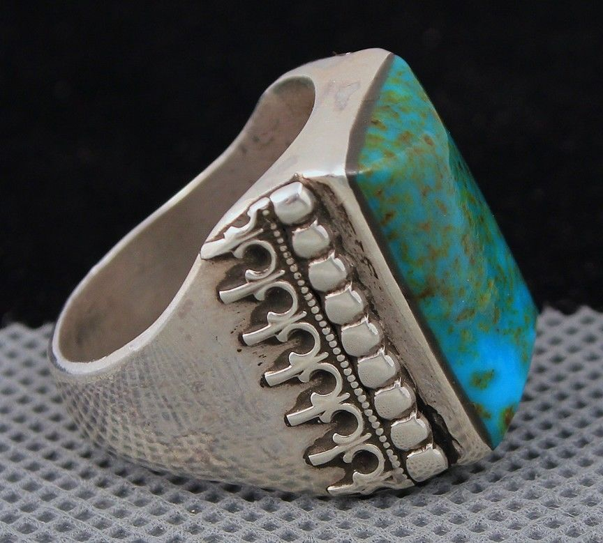 7d46741e63919d Big Vintage Old Pawn Navajo Signed Green Bisbee Turquoise Sterling Men's  Ring | eBay