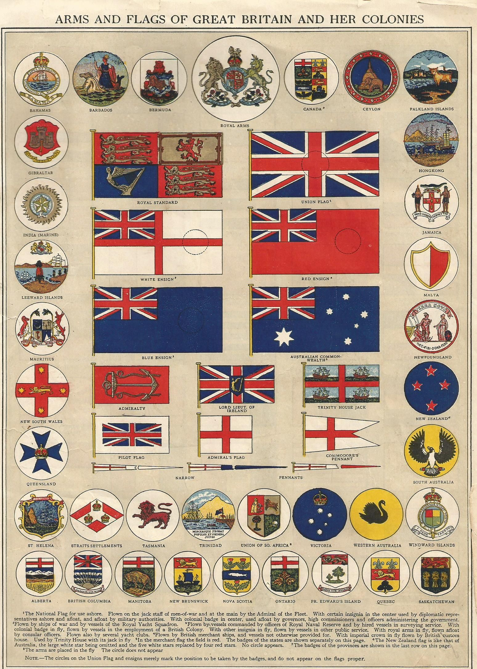 Flag Sheet Of The Flags Of Great Britian And Her Colonies