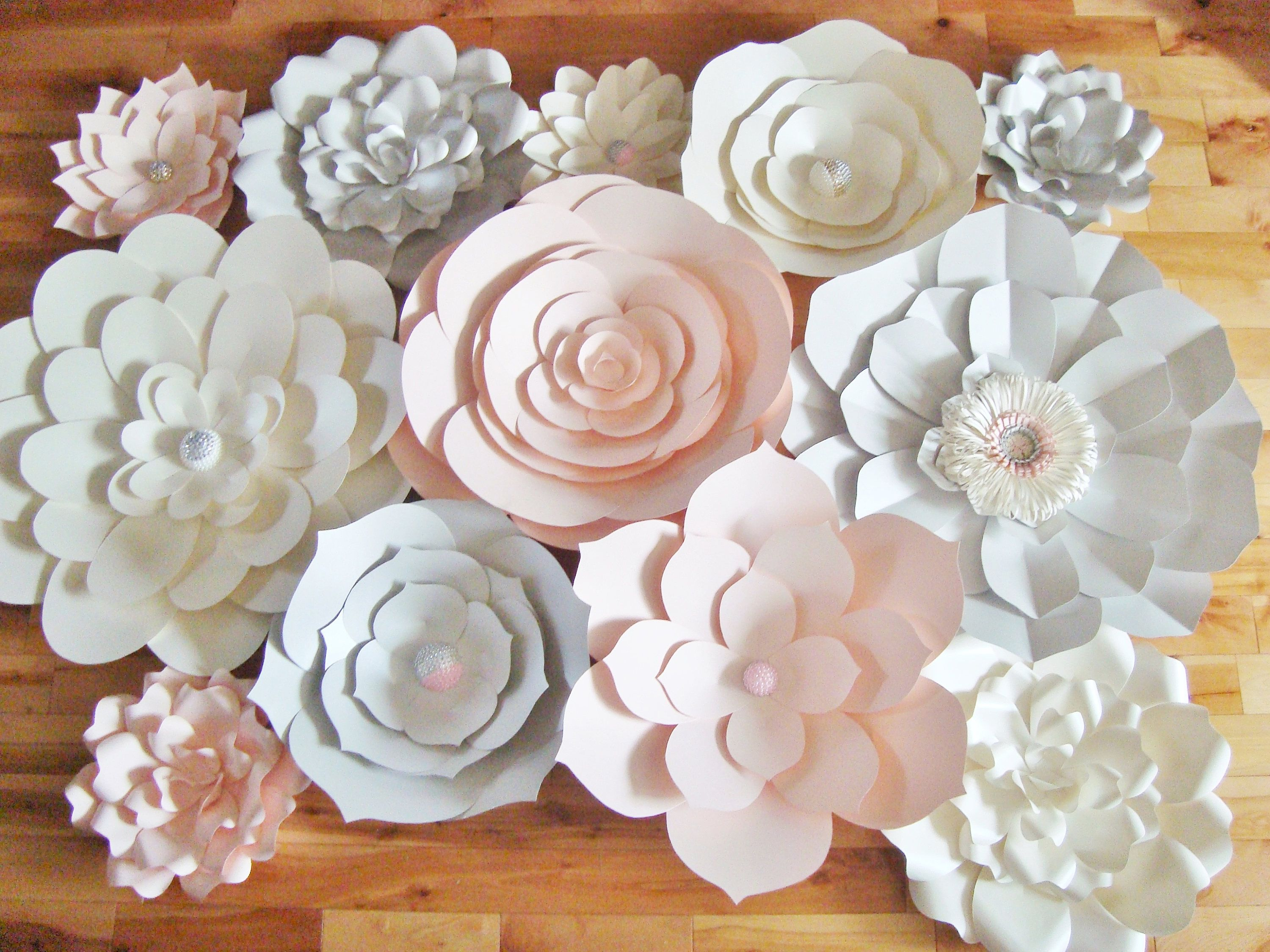 Large Paper Flowers Set Of 15 Paper Flower Wall Baby Nursery