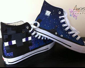 100% kwaliteit nieuwe levensstijl beste sneakers Custom Painted Converse Style Enderman Minecraft Shoes ...
