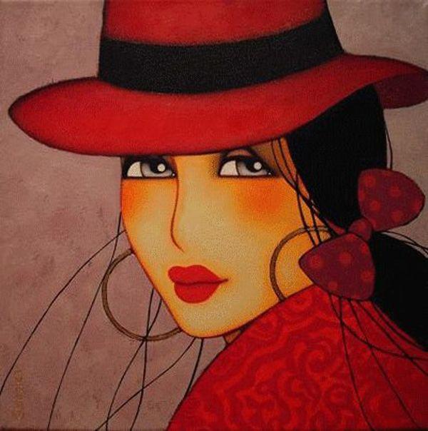 MUJER SOMBRERO ROJO  cositas bonitas  Pinterest  Sombreros