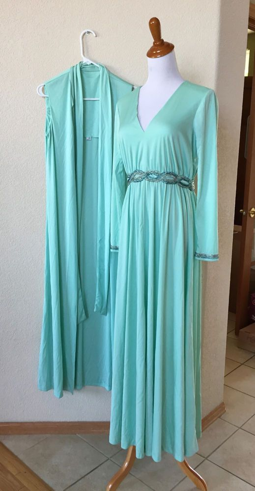 631e918abd8 Vintage 60s 70s KAY KIPPS NY Mint Green 2 Piece Gown Sequins Maxi Dress 38