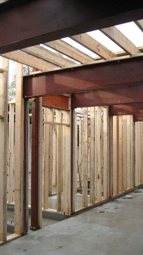 Door Header Framing Steel Beams And Steel Columns Floor Joists On Top Of Steel Beam In 2020 Steel Structure Buildings Timber Frame Construction Steel Beams