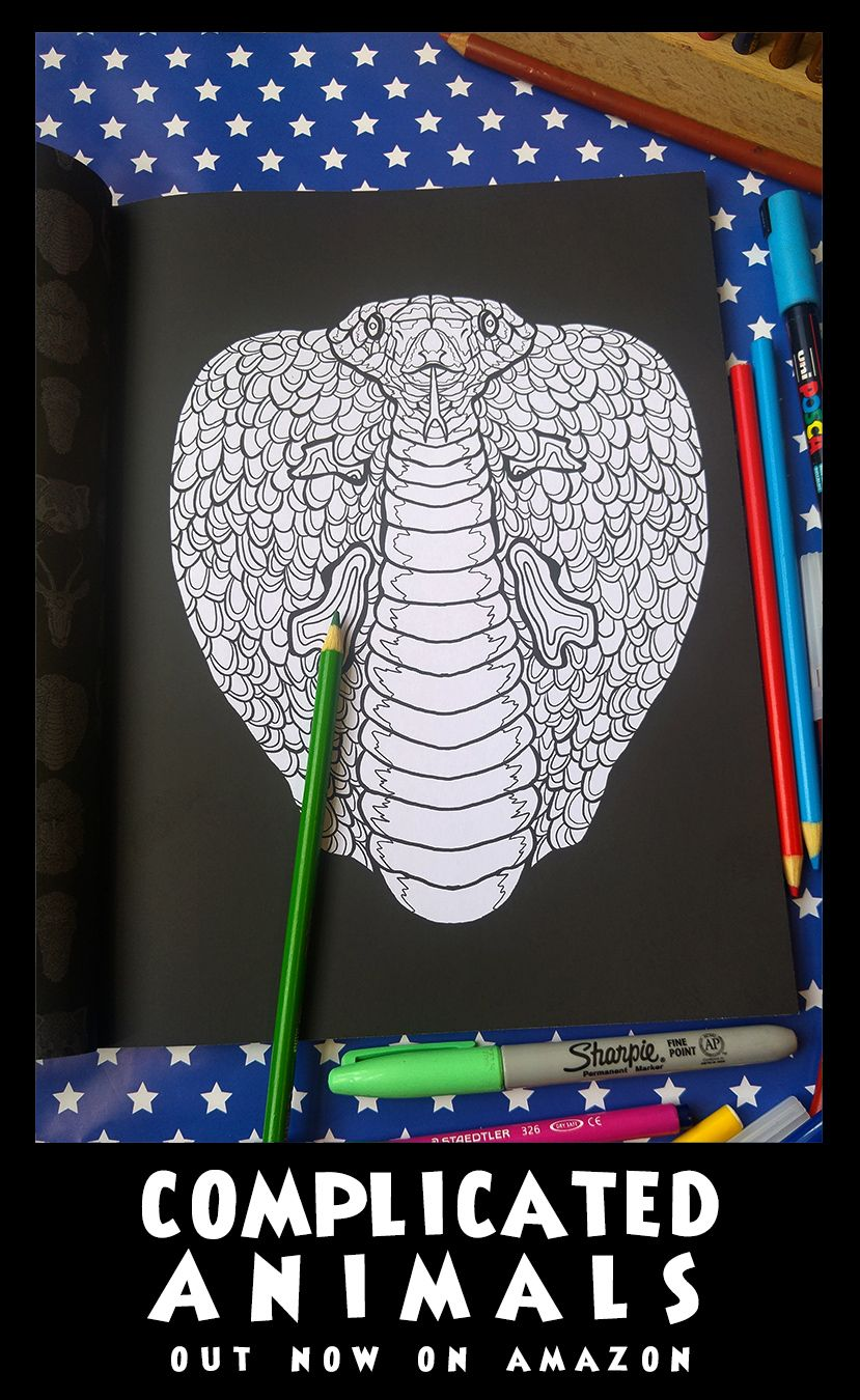 Cobra - Image from Complicated Animals - A Mixed Menagerie Colouring Book - Illustrated by Antony Briggs - UK link: http://amzn.to/2aeY18T USA link: http://amzn.to/2aeXS5B