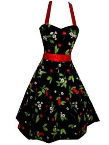 Pretty Kitty Fashion 50s Kirsche Schwarz Rot Neckholder Kleid