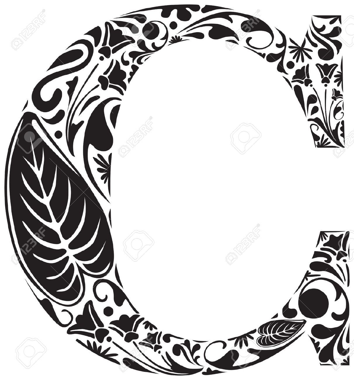 18386777 Floral Initial Capital Letter C Stock Vector.