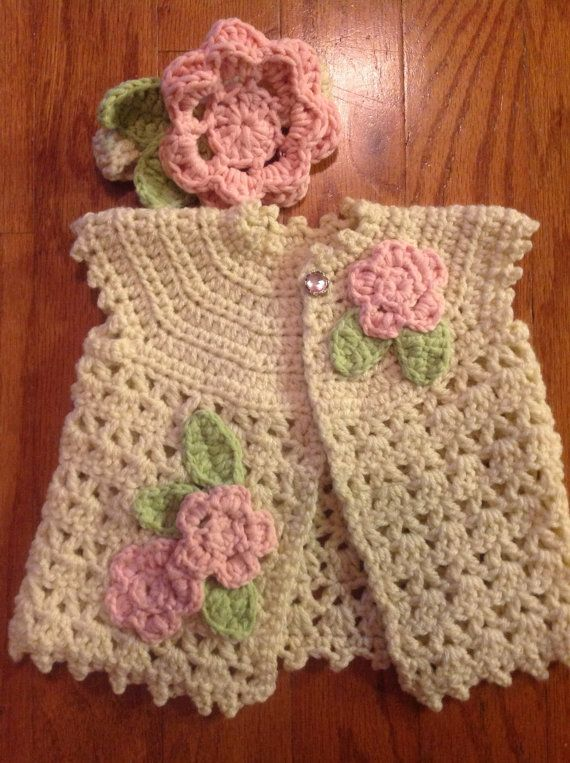 Crochet Baby Sweater, Headband, and Mary Jane Booties with Flowers ...