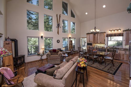 Beautiful Wallowa Lake home offers a gourmet kitchen, and a jacuzzi tub in the master suite.  Arapahoe Lodge Main #41.