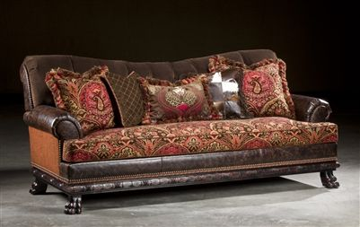 Captivating Sofa, Leather, Fabric. Single Cushion