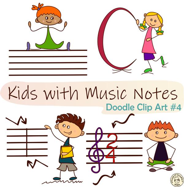 Kids With Music Notes Doodle Clip Art Bundle Music Notes Clip Art Doodles