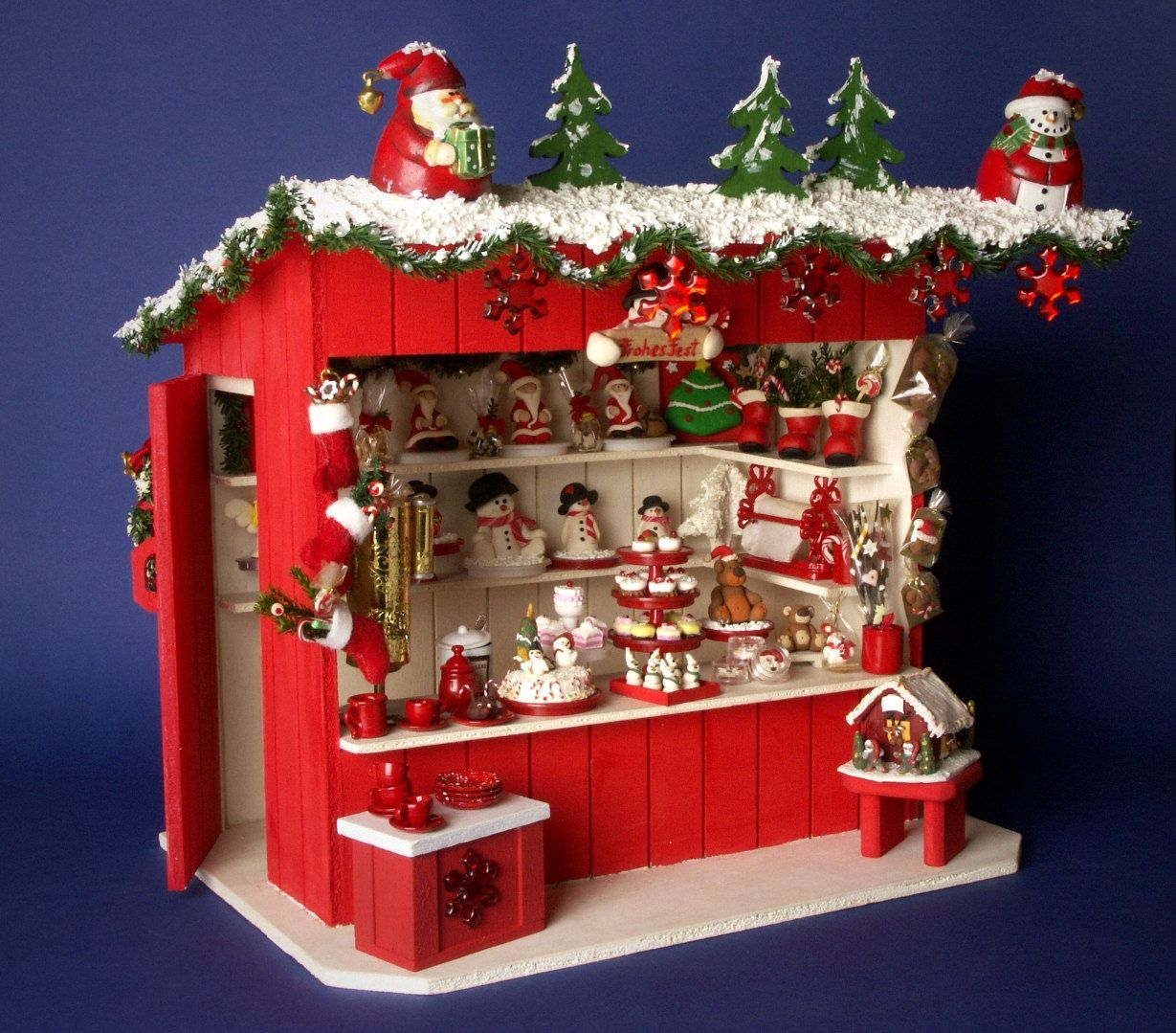 German Miniature Christmas Market Stall Cafeteria 1 12 Christmas Market Stall Miniature Christmas Christmas Booth