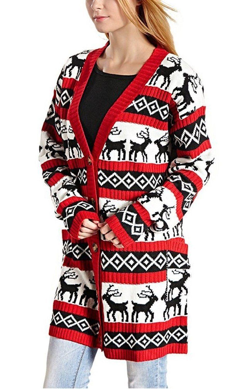1680806c3dd Womens Oversized Christmas Reindeer Cardigan Womens Oversized ...