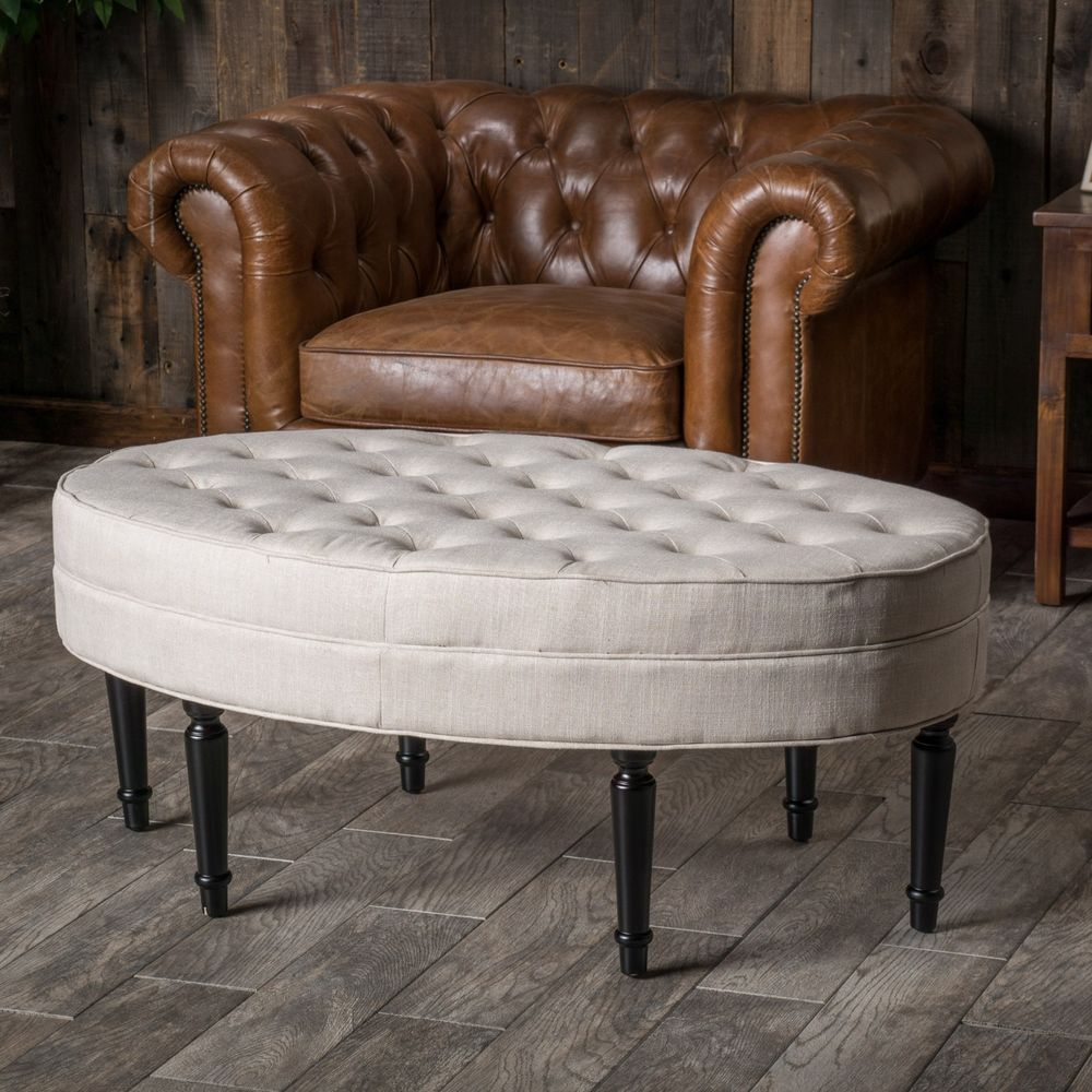 Tufted Top Linen Upholstered Oval Ottoman Coffee Table W Button Accents Leather Ottoman Coffee Table Ottoman Coffee Table Ottoman Table [ 1000 x 1000 Pixel ]