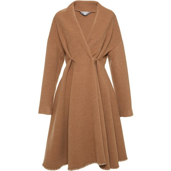 Sportmax Pagano Coat (€2.725) ❤ liked on Polyvore featuring outerwear, coats, coats & jackets, camel, camel coat, brown coat, sportmax, sportmax coat and knee length coat