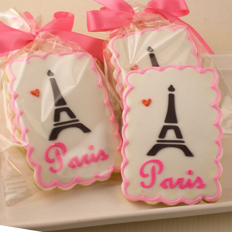 Paris Themed Cookies Eiffel Tower 12 Decorated Sugar by TSCookies