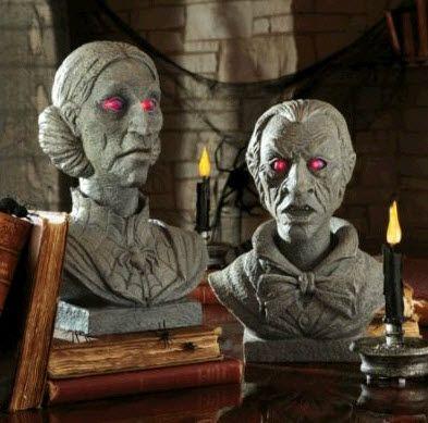 grandin road velma and evander talking busts hgtv design blolg halloween decorations