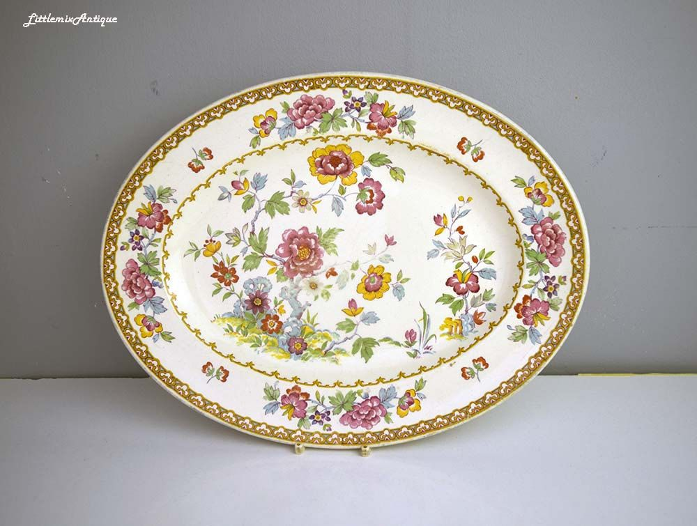 Antique A J Wilkinson Ltd Royal Staffordshire Pottery Ww England Shalimar Pattern Floral Platter Retro English Dinnerware Circa 1896 Ceramic Tableware Pottery Tableware