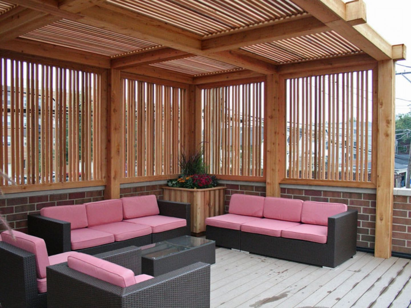 outdoor living room design with wooden pergola and pink sofa idea outdoor living room design with wooden pergola and pink sofa idea pretty outdoor living room