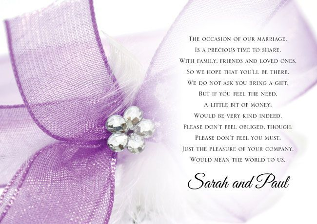 Wedding Invitation Poem: Poem Cards To Ask For Money As A Wedding Gift