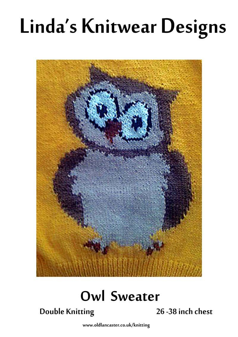 d30eca82f28db Children s and adult sweater Knitting pattern with Owl motif - sizes 26 to  38 inch chest - PDF